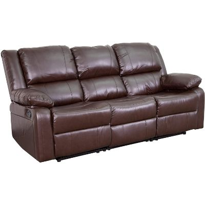 6. Flash Furniture Harmony Series Brown Leather Sofa