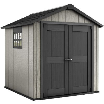 8. Keter Oakland Outdoor Shed with Customizable Walls (7.5 x 11 Foot)
